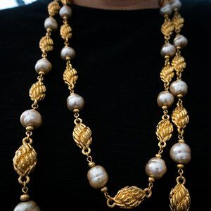 St. John Long Pearl and Gold Necklace Vintage